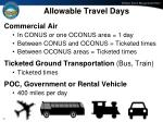 allowable travel days