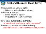 first and business class travel