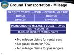 ground transportation mileage