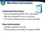meal rate authorization