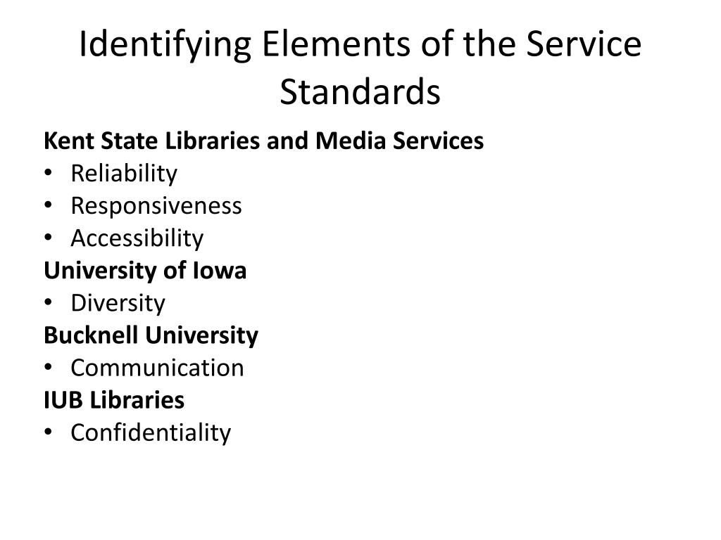 Identifying Elements of the Service Standards