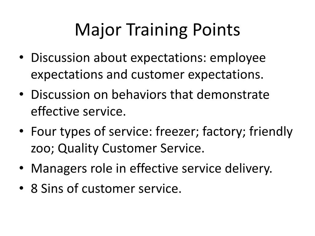 Major Training Points