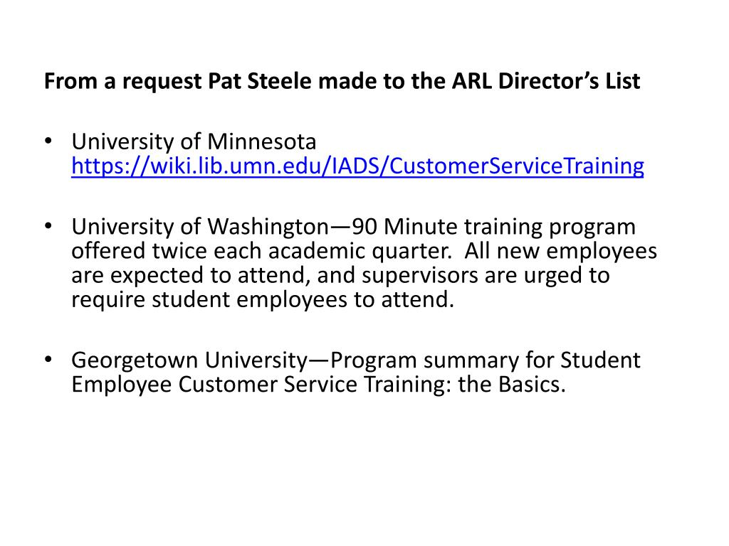 From a request Pat Steele made to the ARL Director's List