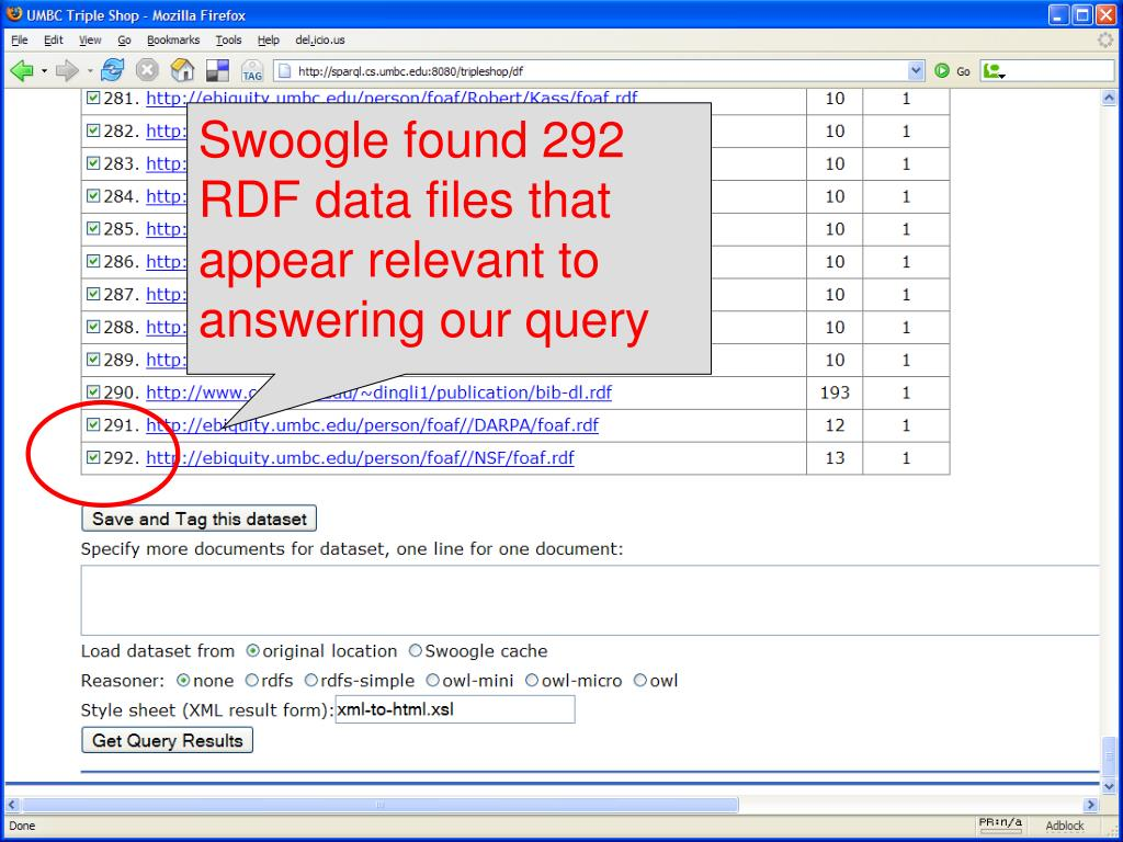 Swoogle found 292 RDF data files that appear relevant to answering our query