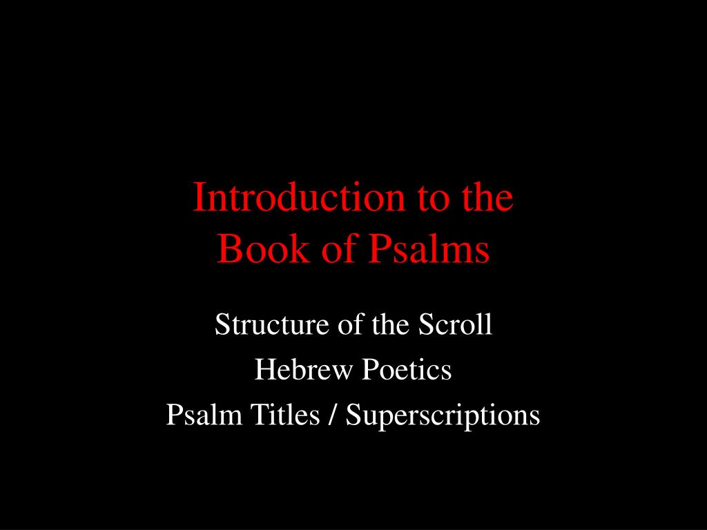introduction to the book of psalms l.