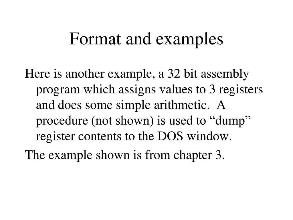 Format and examples