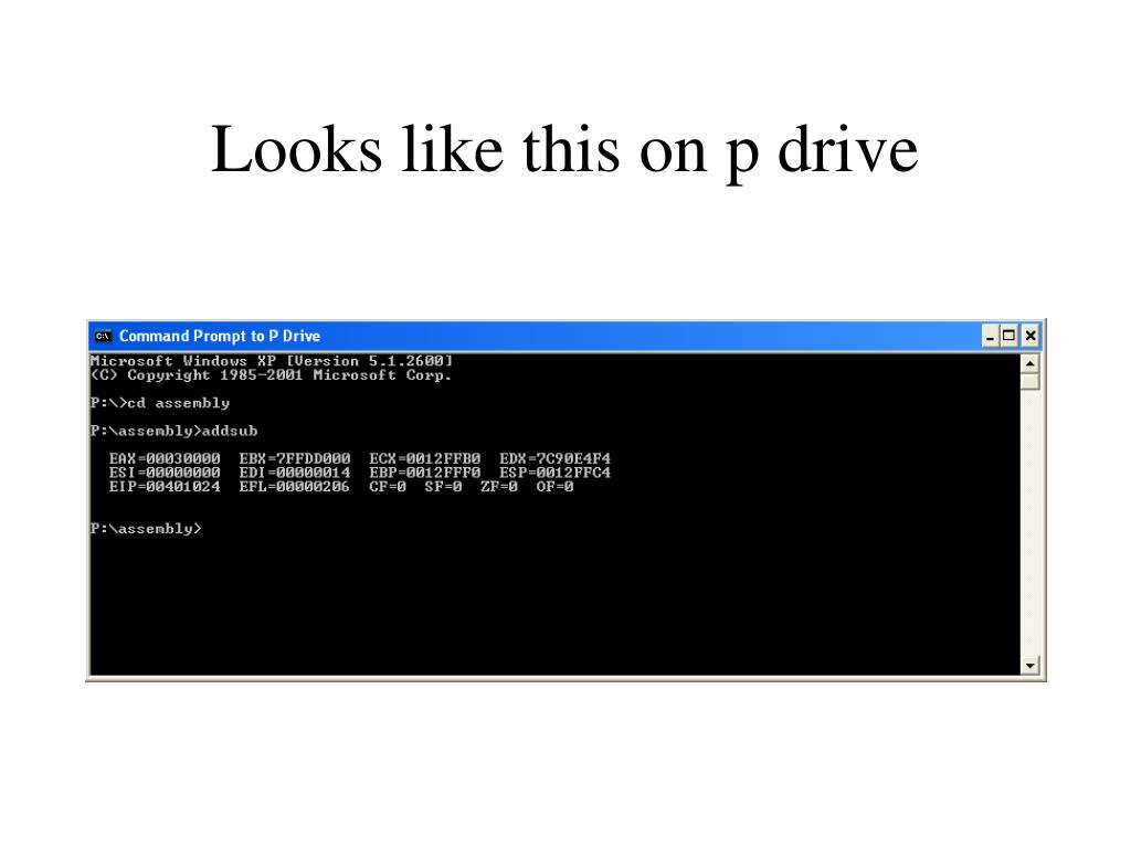 Looks like this on p drive