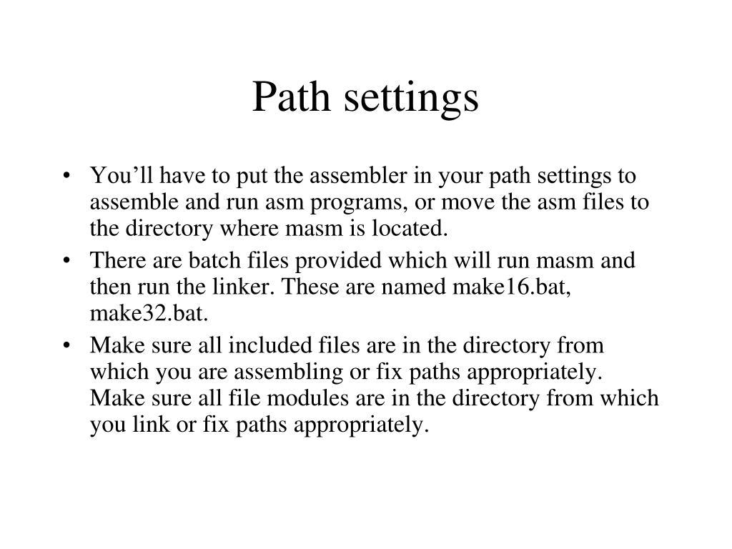 Path settings