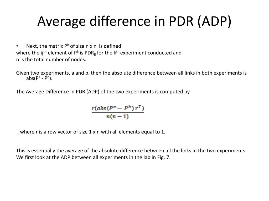 Average difference in PDR (ADP)