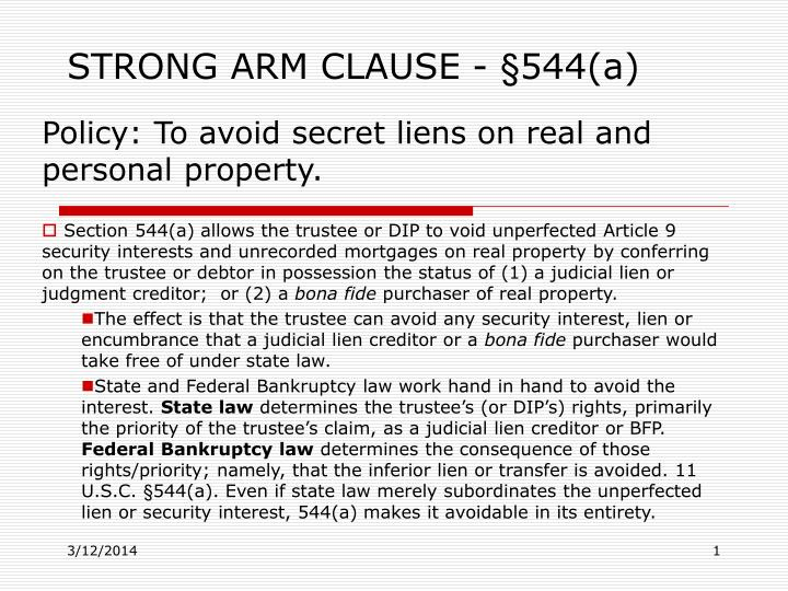 Strong arm clause 544 a