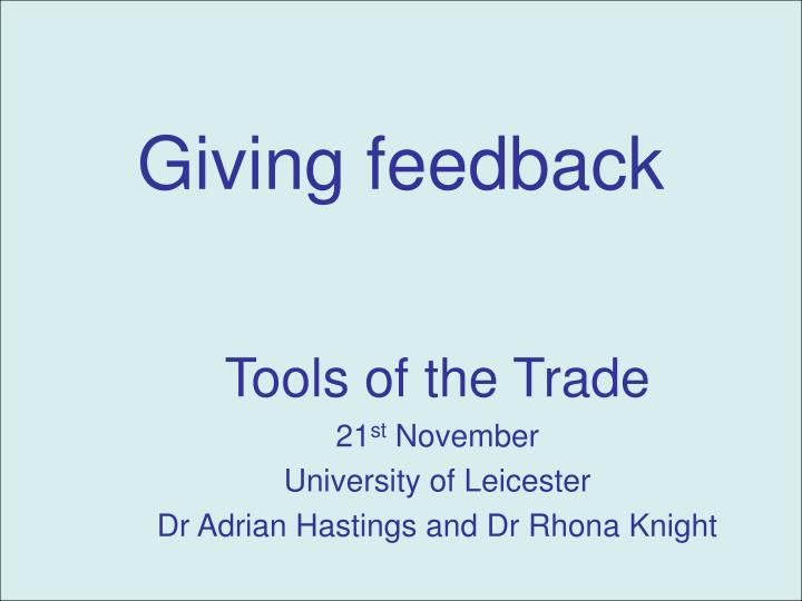 giving feedback n.