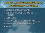 fiber cable connectivity equipment vendors