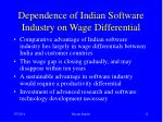 dependence of indian software industry on wage differential