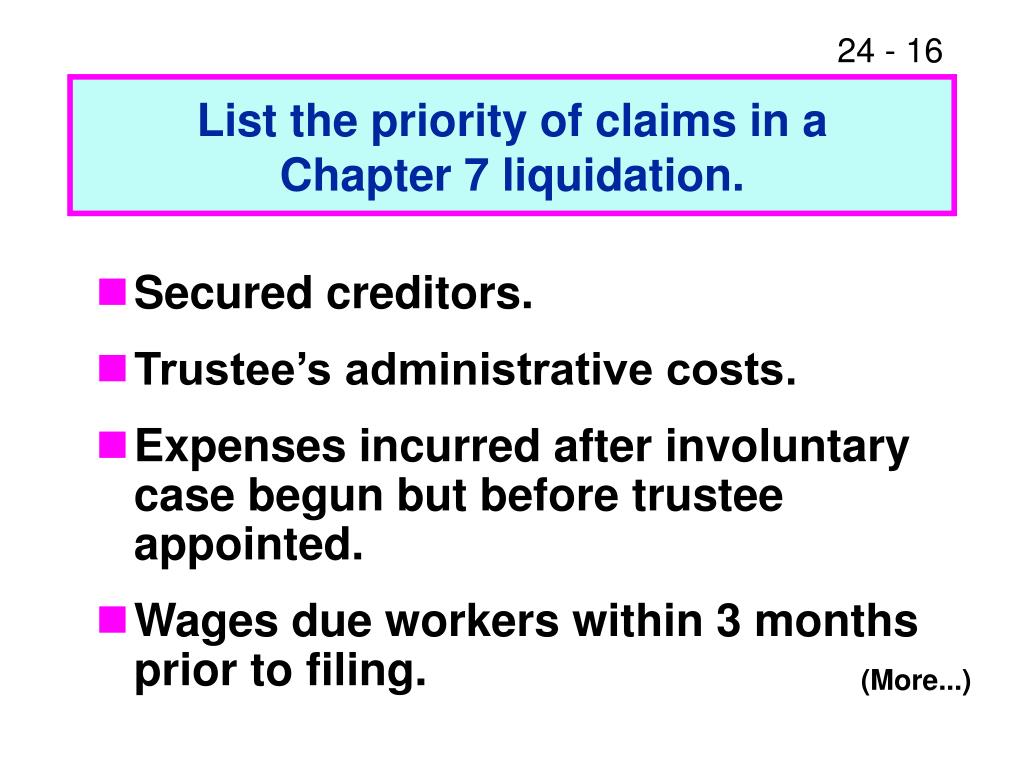 List the priority of claims in a