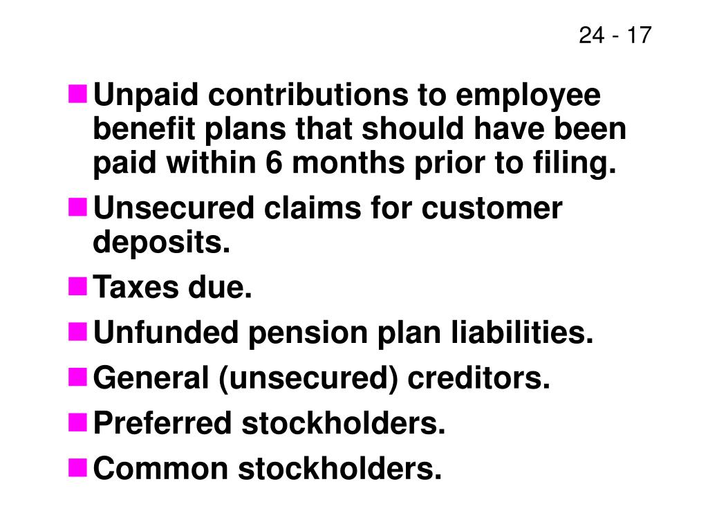 Unpaid contributions to employee benefit plans that should have been paid within 6 months prior to filing.