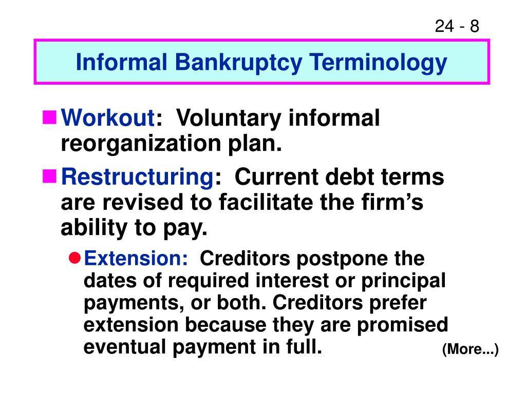 Informal Bankruptcy Terminology