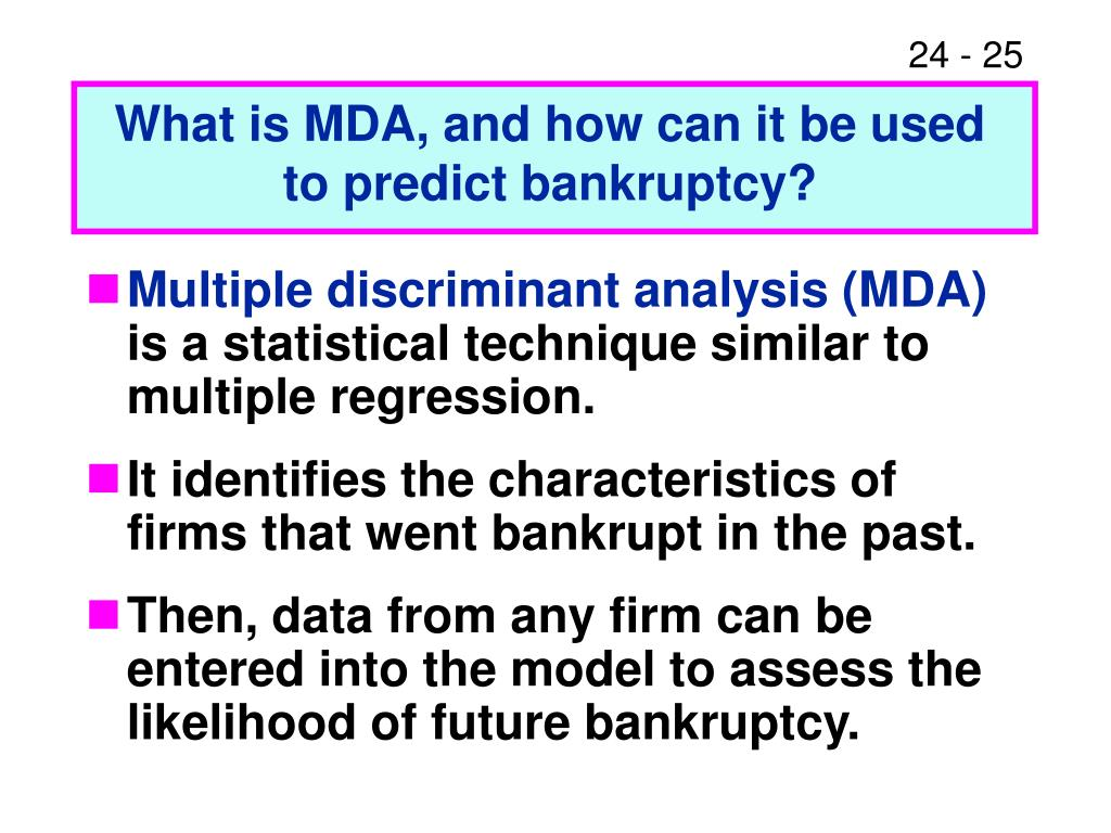 What is MDA, and how can it be used to predict bankruptcy?