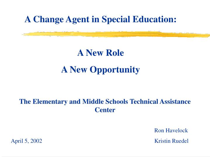 A Change Agent in Special Education: