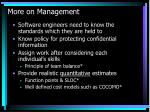 more on management