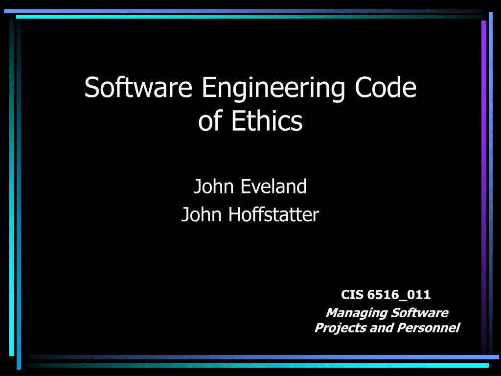 software engineering code of ethics l.