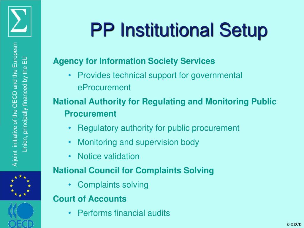 PP Institutional Setup