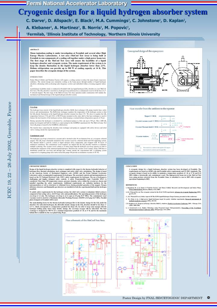 cryogenic design for a liquid hydrogen absorber system n.