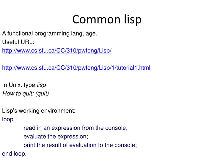 PPT - Common lisp PowerPoint Presentation - ID:421994
