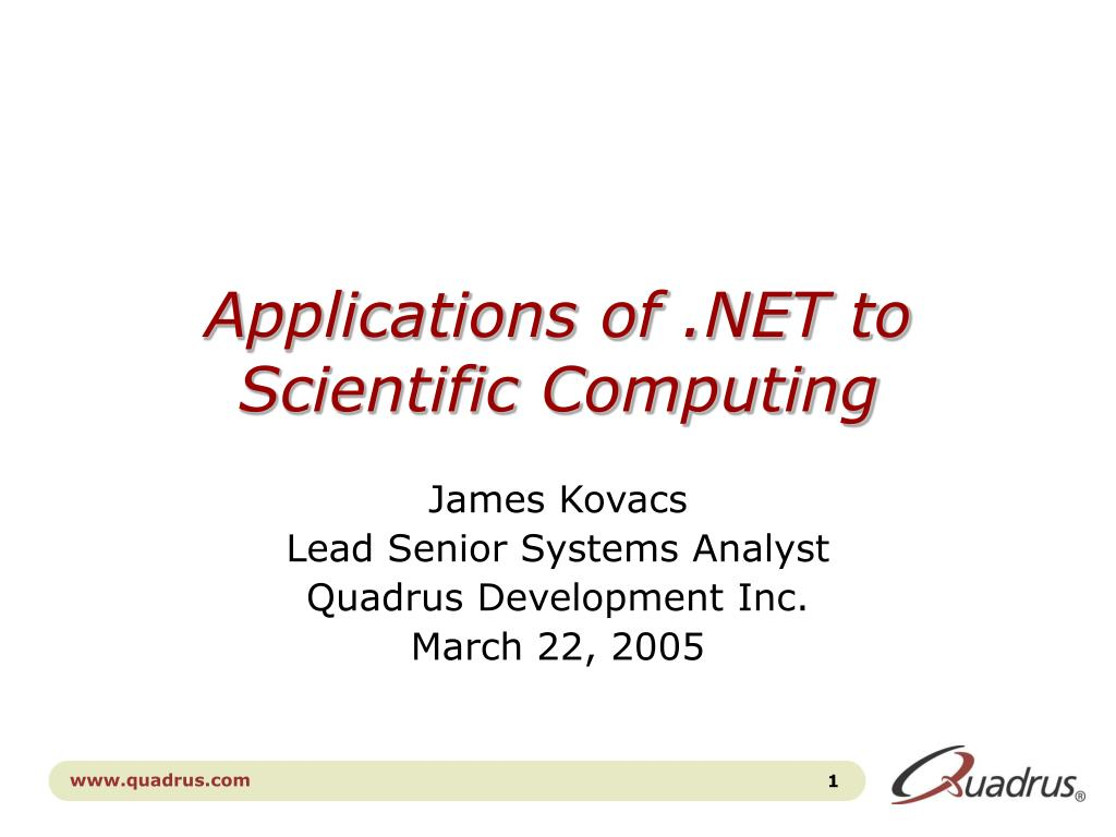 applications of net to scientific computing l.