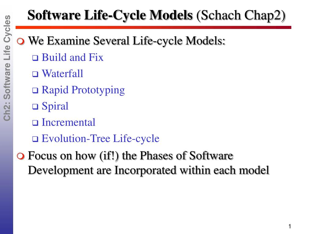 software life cycle models schach chap2 l.