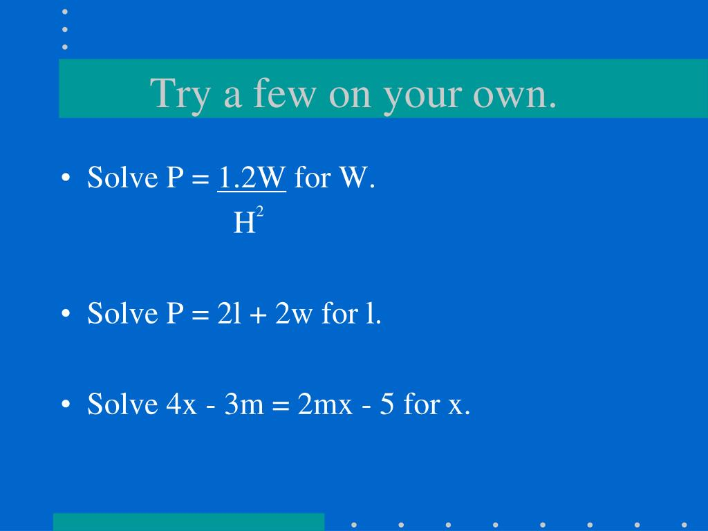 PPT - 3-5 Solving Equations and Formulas PowerPoint ...