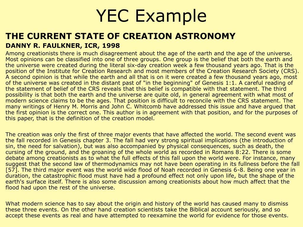 YEC Example