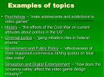 examples of topics