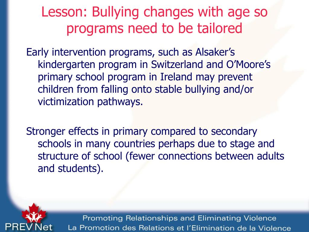 Lesson: Bullying changes with age so programs need to be tailored