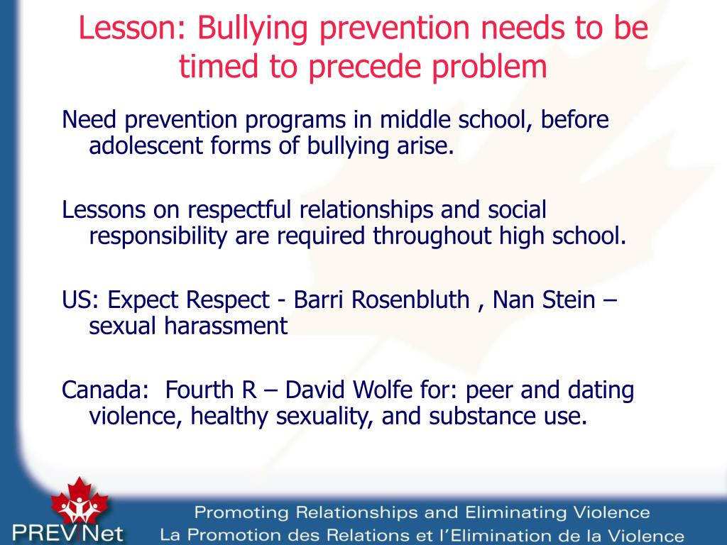 Lesson: Bullying prevention needs to be timed to precede problem