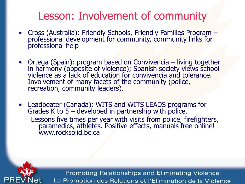 Lesson: Involvement of community