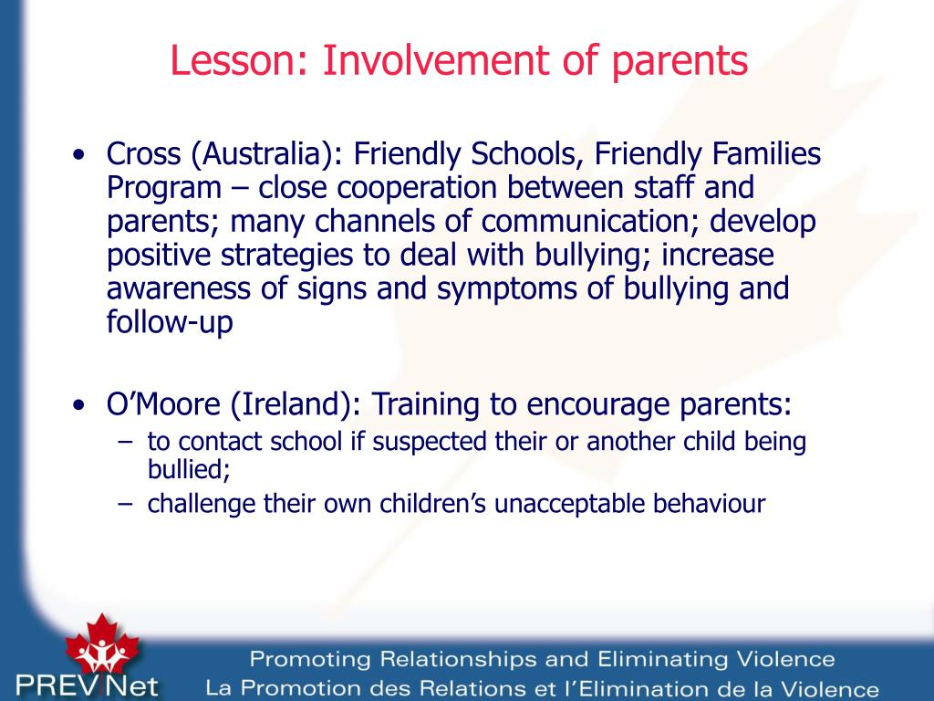 Lesson: Involvement of parents