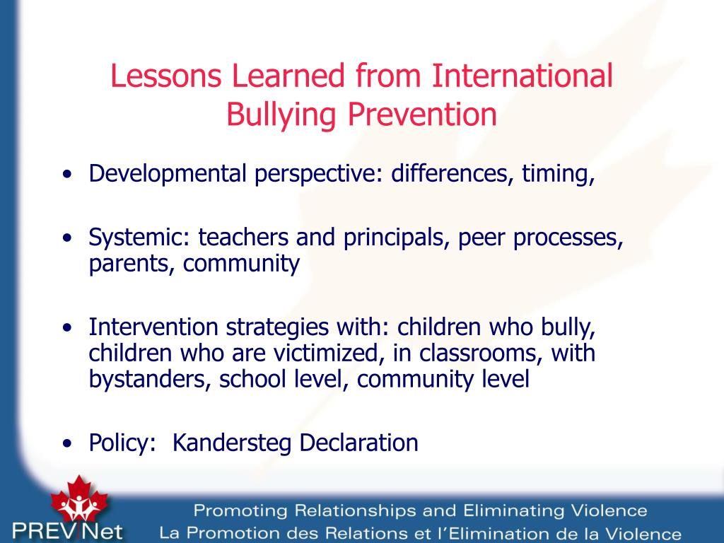 Lessons Learned from International Bullying Prevention