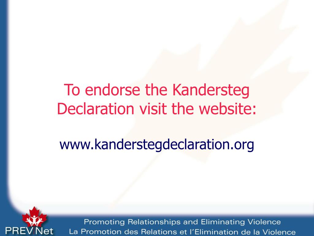 To endorse the Kandersteg Declaration visit the website: