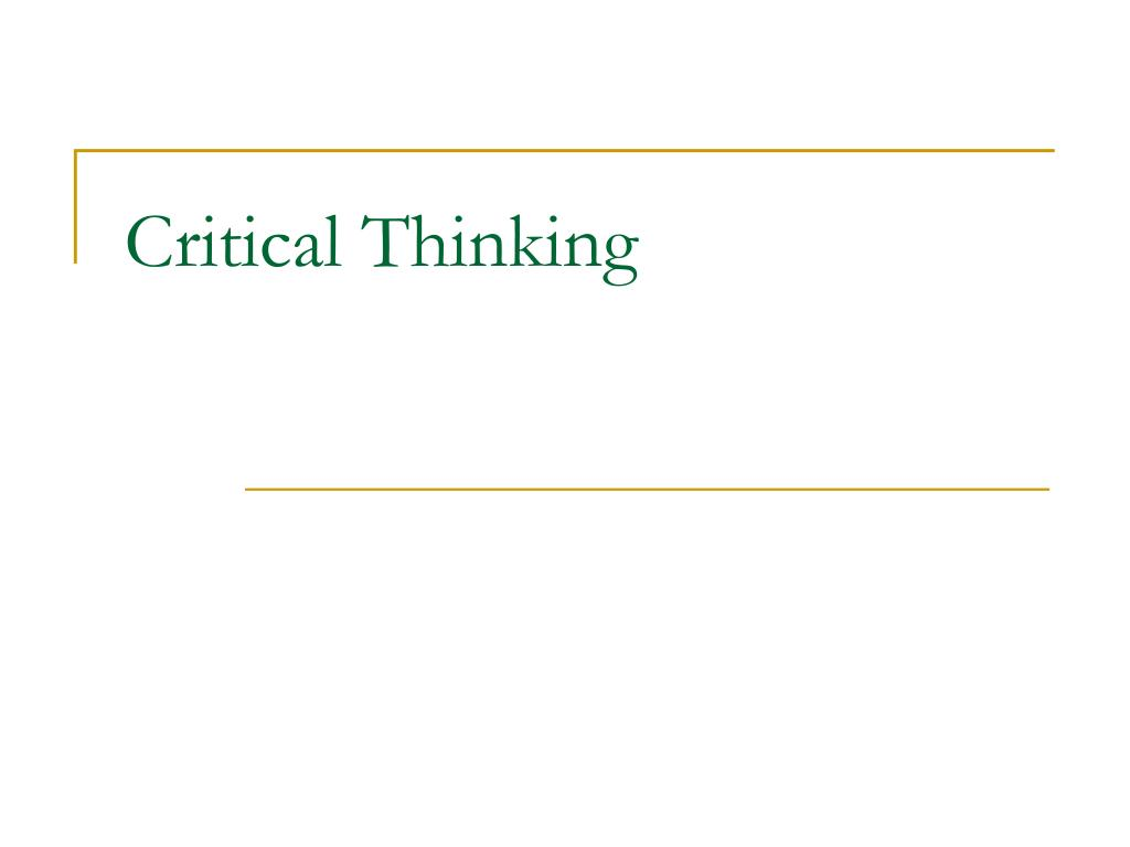 critical thinking l.