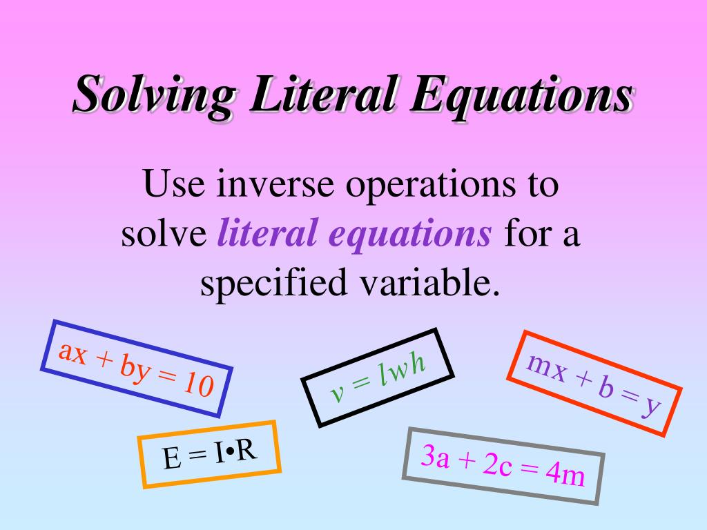 ppt - solving literal equations powerpoint presentation - id:422229