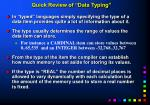 quick review of data typing
