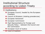 institutional structure according to lisbon treaty