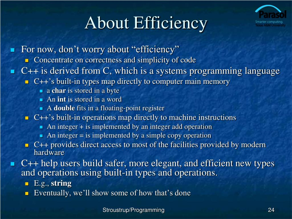 About Efficiency