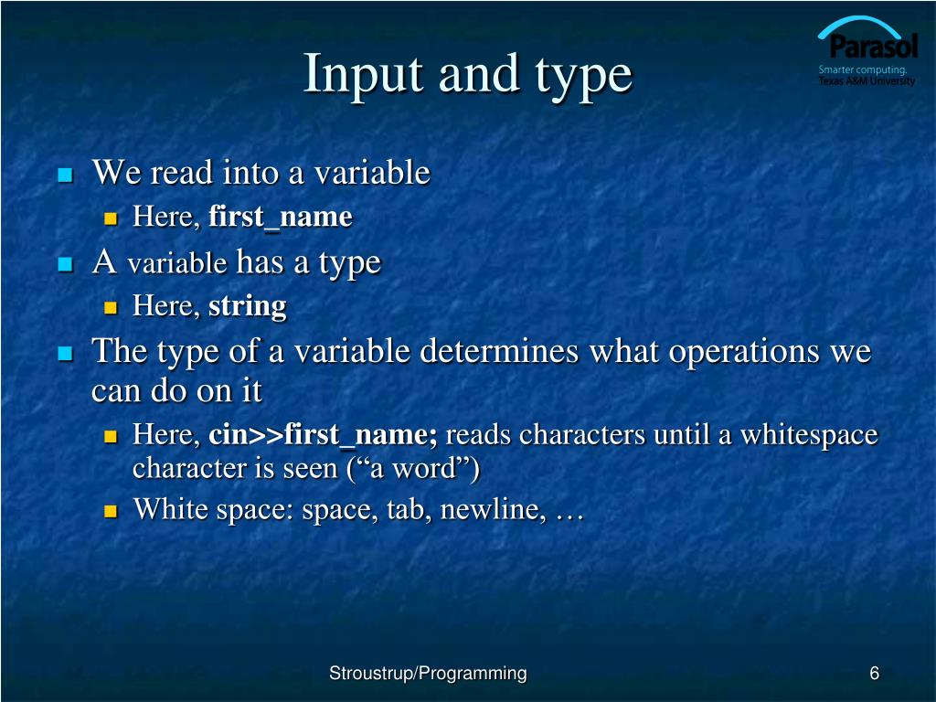 Input and type