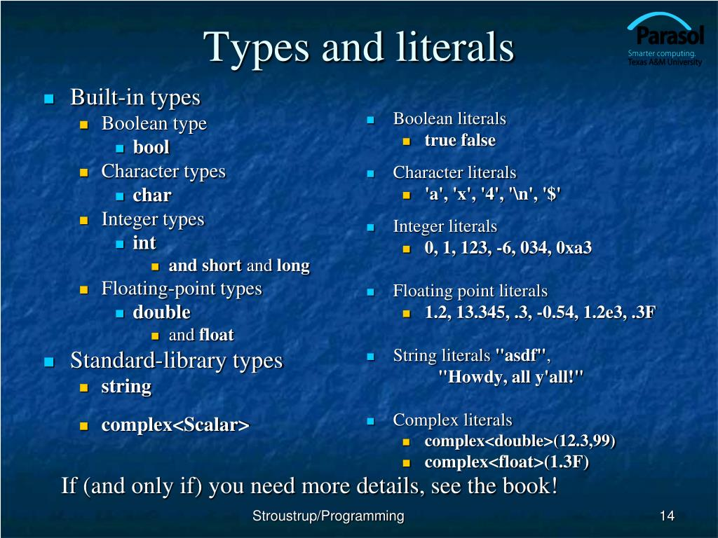 Types and literals