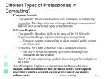 different types of professionals in computing