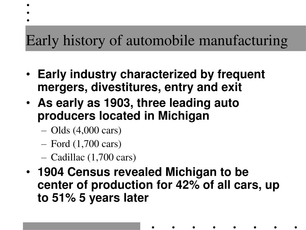 Early history of automobile manufacturing