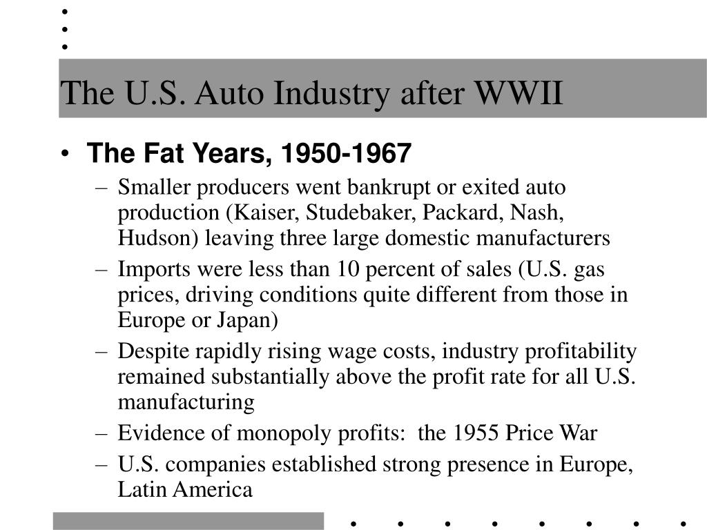 The U.S. Auto Industry after WWII