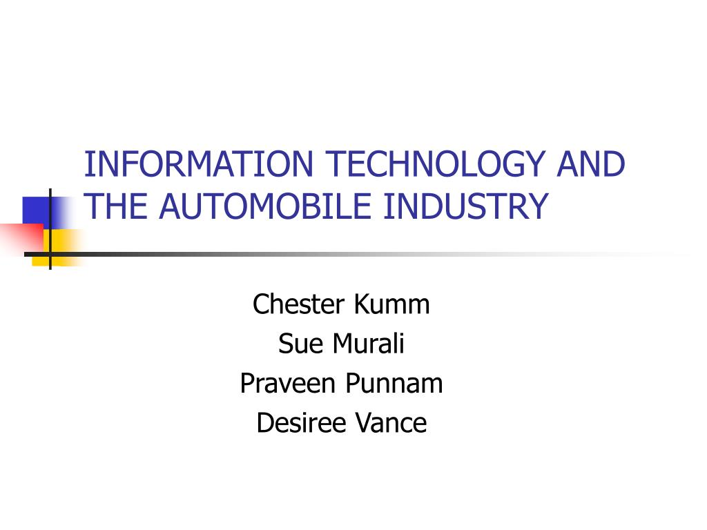 information technology and the automobile industry l.
