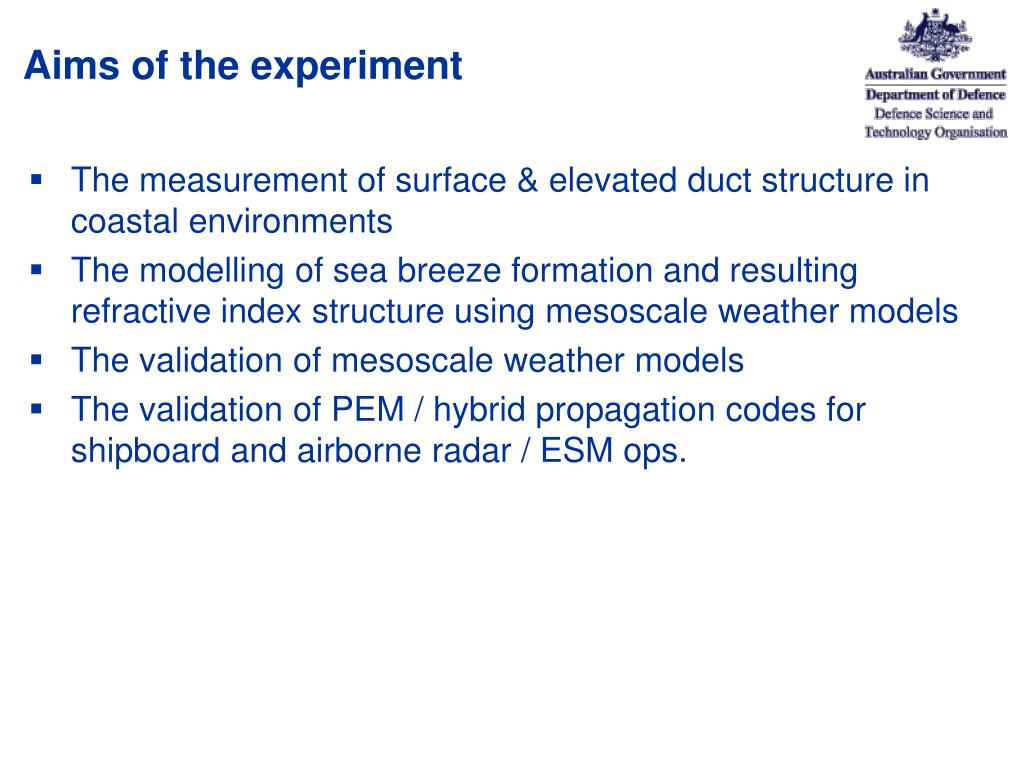 Aims of the experiment